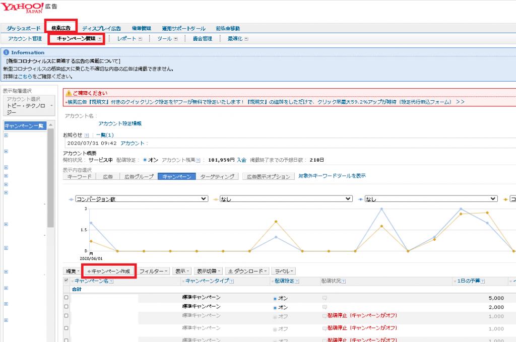 Yahoo広告の入稿方法
